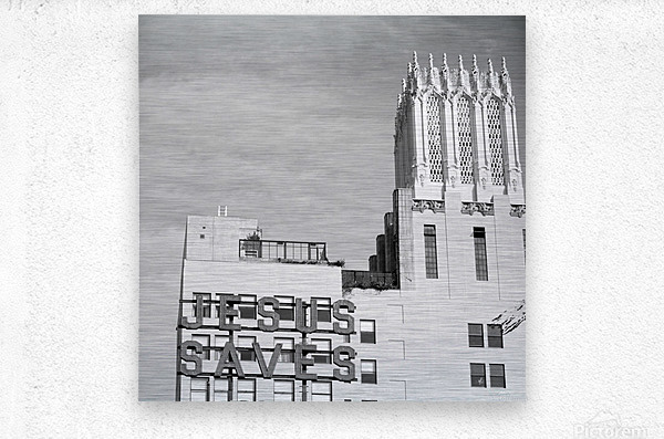 B&W Jesus Saves Building - DTLA  Metal print