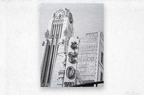 B&W Tower Theatre Clock - DTLA  Metal print