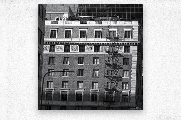 B&W Building Corner Figueroa and 6th Street  Metal print