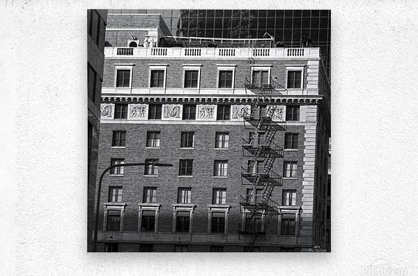 B&W Building Corner Figueroa and 6th Street  Metal print