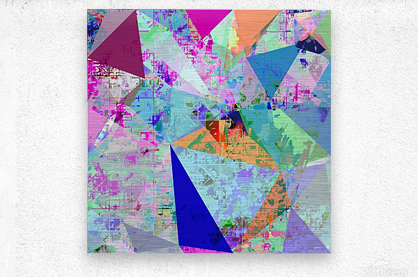 vintage psychedelic triangle polygon pattern abstract in blue pink green yellow  Metal print