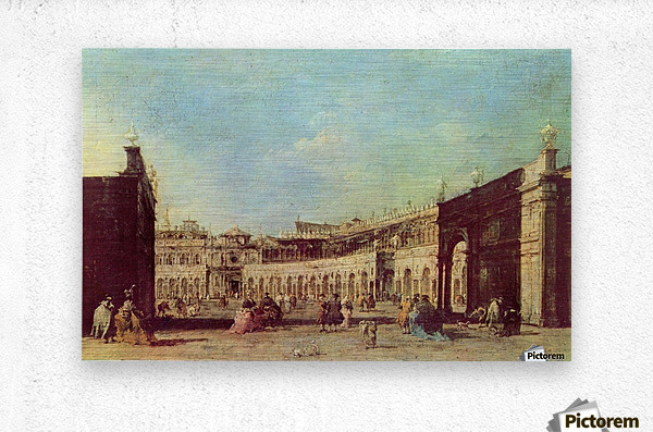 Piazza San Marco a Venezia, dal lato opposto alla basilica  Metal print