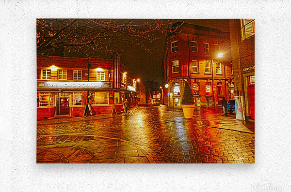 Wet streets by night  Metal print