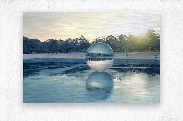 crystal ball on frozen lake  Metal print