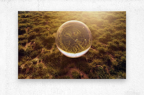 crystal ball on green grass in the morning sunshine light  Metal print