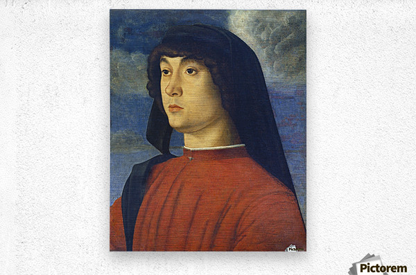 Giovanni Bellini Portrait Young Man Red  Metal print