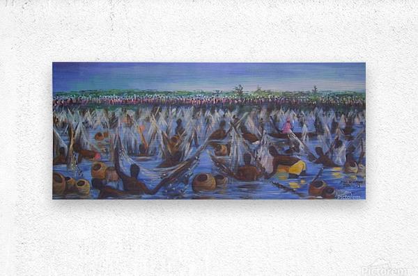 Argungu Fishing Festival, painted by Stephen Achugwo  Metal print