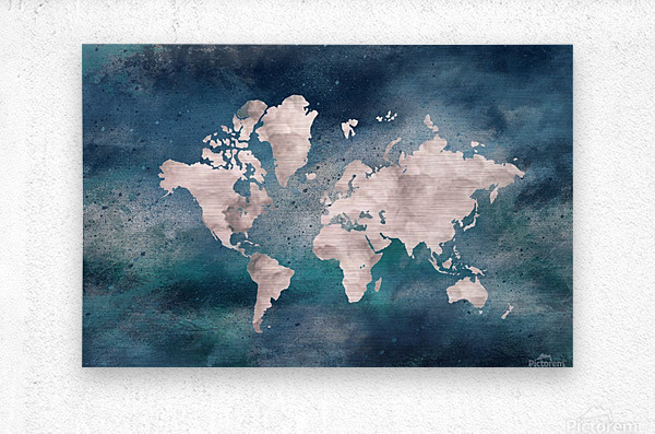 Map Green  Metal print