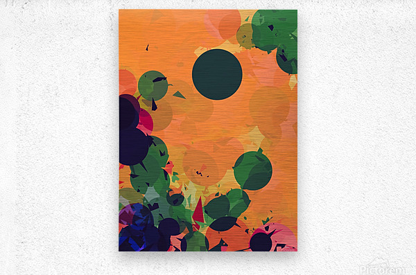 geometric circle and triangle pattern abstract in green orange red  Metal print