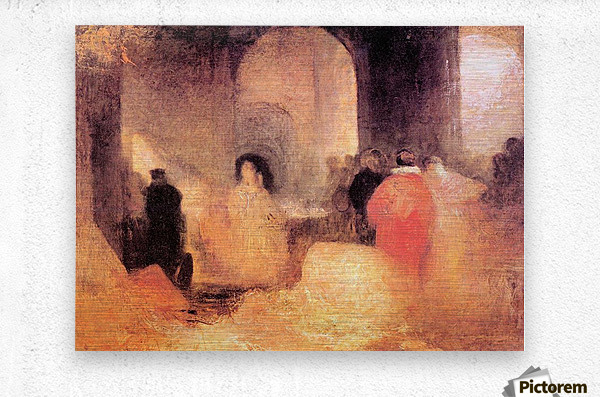 A dinner in a large room with people in costumes by Joseph Mallord Turner  Metal print