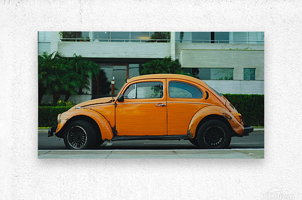 Parked Yellow Coccinelle  Metal print