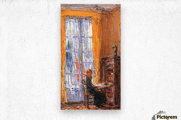 At the desk by Hassam  Metal print