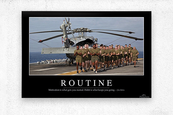 Routine: Inspirational Quote and Motivational Poster  Metal print