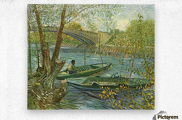 Angler and boat at the Pont de Clichy by Van Gogh  Metal print