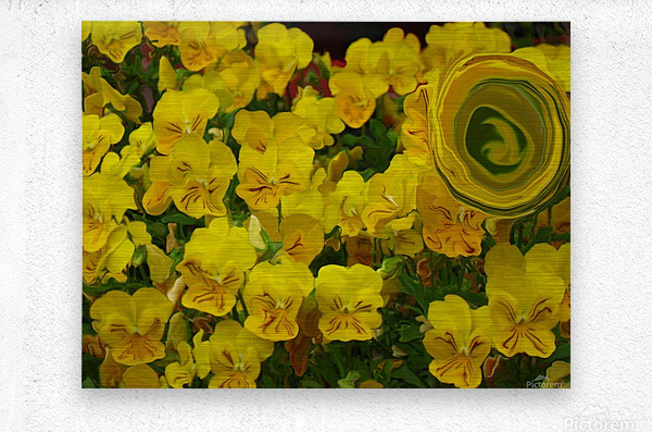 Yellow Abstract Floral Art  Metal print