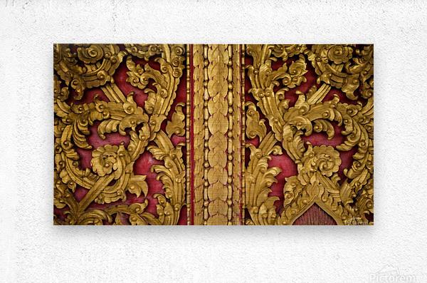 Golden wood carvings  Metal print