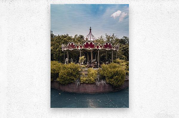 Abandoned Theme Park Merry Go Round  Metal print