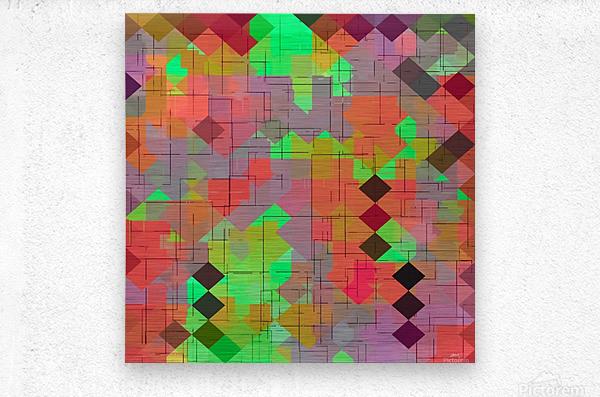 geometric square pixel pattern abstract in green orange red  Metal print