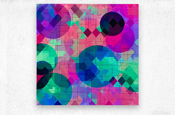 geometric square pixel and circle pattern abstract in pink blue green  Metal print
