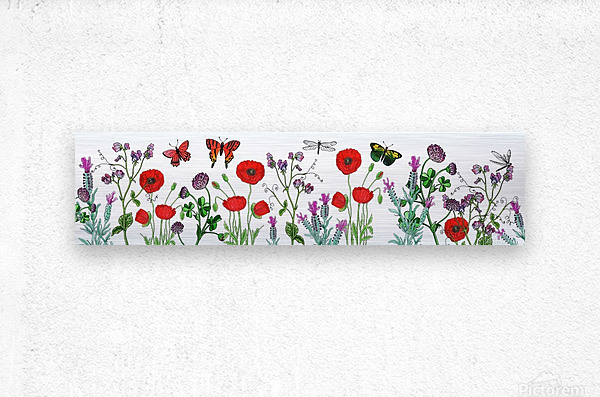 Wildflowers Field With Red Poppies Clover Lavender And Butterflies  Metal print