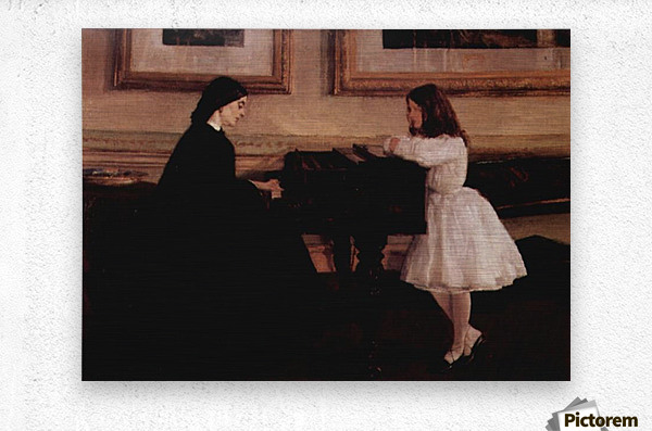 At the piano by Whistler  Metal print