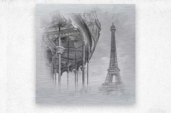 Typical Paris   monochrome watercolor  Metal print