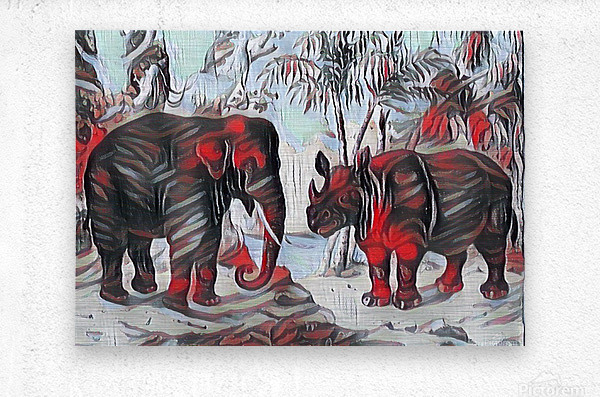 Elephant And Rhinoceros_On A Cold Rain_OSG  Metal print