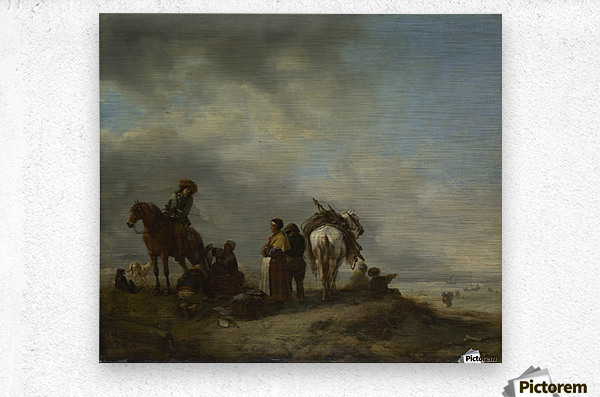A View on a Seashore with Fishwives offering Fish to a Horseman  Metal print