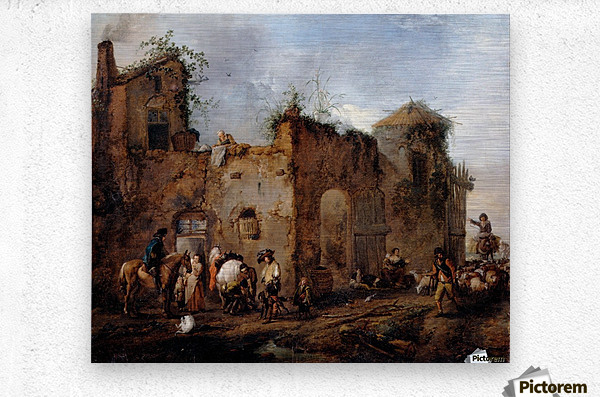 Courtyard with a Farrier shoeing a Horse  Metal print
