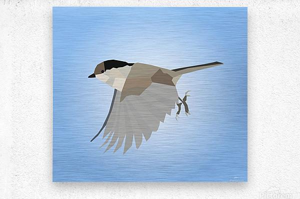 WILLOW TIT BIRD LOW POLY ART  Metal print