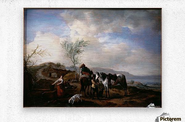 Two Horsemen near a Fountain  Metal print