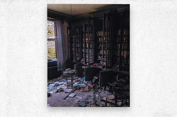 Abandoned Mansion Library  Metal print