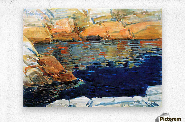 Beryl look at the pond by Hassam  Metal print
