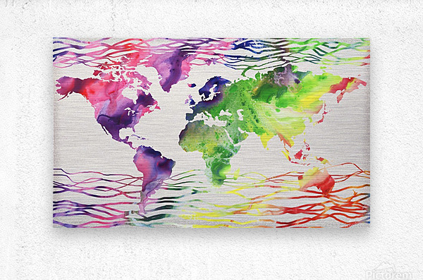 Colorful Wave Of Watercolour World Map  Metal print