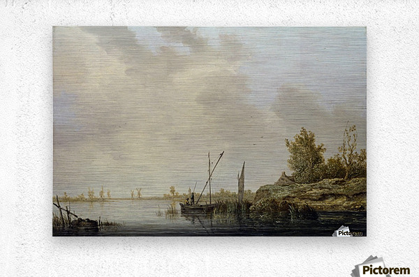 A River Scene with Distant Windmills  Metal print