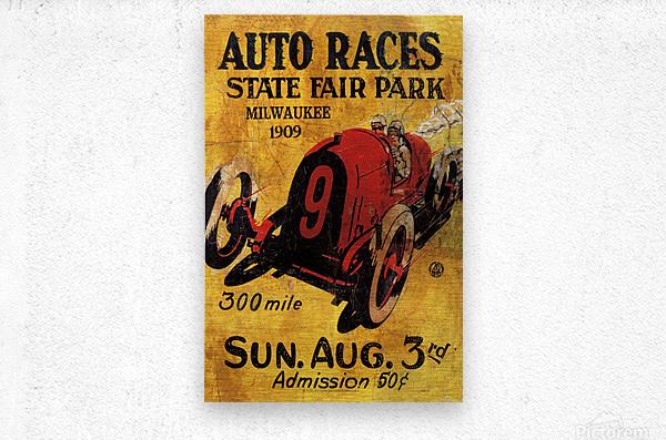 Milwaukee 300 Mile Auto Races State Fair Park 1909  Impression metal