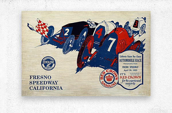 California Raisin Day Classic Automobile Race Championship Event Fresno Speedway 1923  Metal print