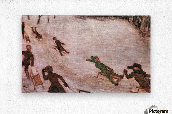 Children sledding by Franz von Stuck  Metal print