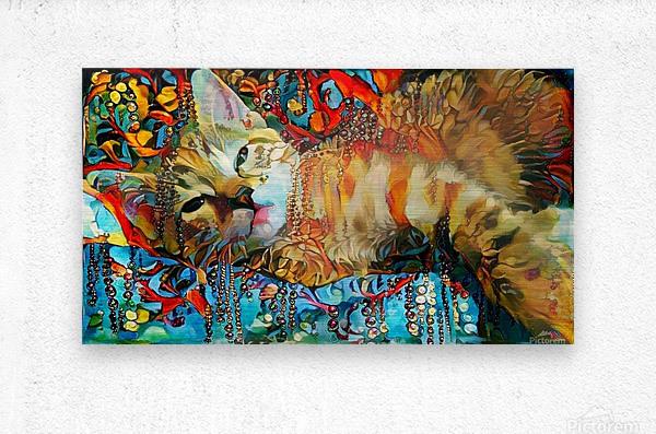 Lying Cat  Metal print