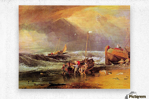 Coastal scene with fishermen by Joseph Mallord Turner  Metal print