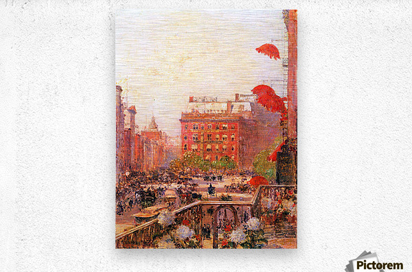 Broadway and Fifth Avenue by Hassam  Metal print