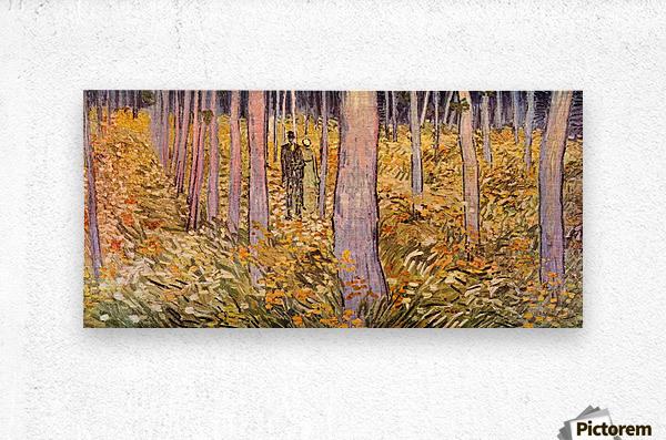 Couple walk in the woods by Van Gogh  Metal print