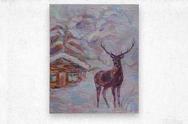 Deer and Hut  Metal print