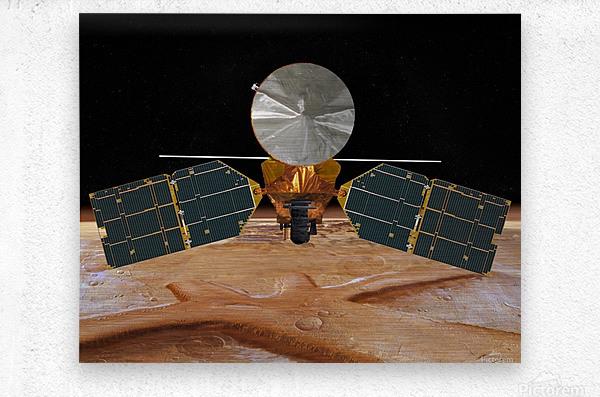 Artists concept of the Mars Reconnaissance Orbiter.  Metal print