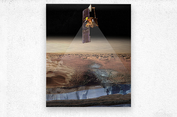 Artists View of Odyssey Detecting Ice.  Metal print