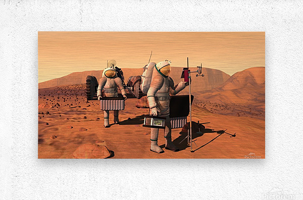 Artists concept of astronauts setting up weather monitoring equipment on Mars.  Metal print