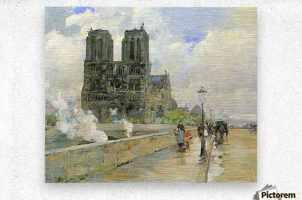 Cathedral of Notre Dame, 1888 by Hassam  Metal print