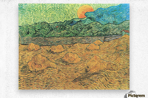 Evening landscape at moonrise by Van Gogh  Metal print