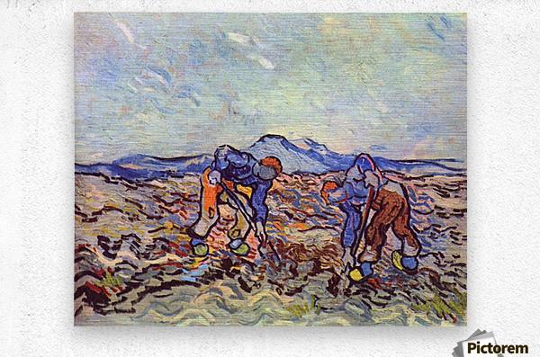 Farmers at work by Van Gogh  Metal print