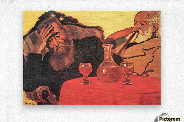 Father and uncle with the red wine  by Joseph Rippl-Ronai  Metal print